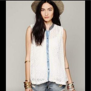 Free People lace button down top